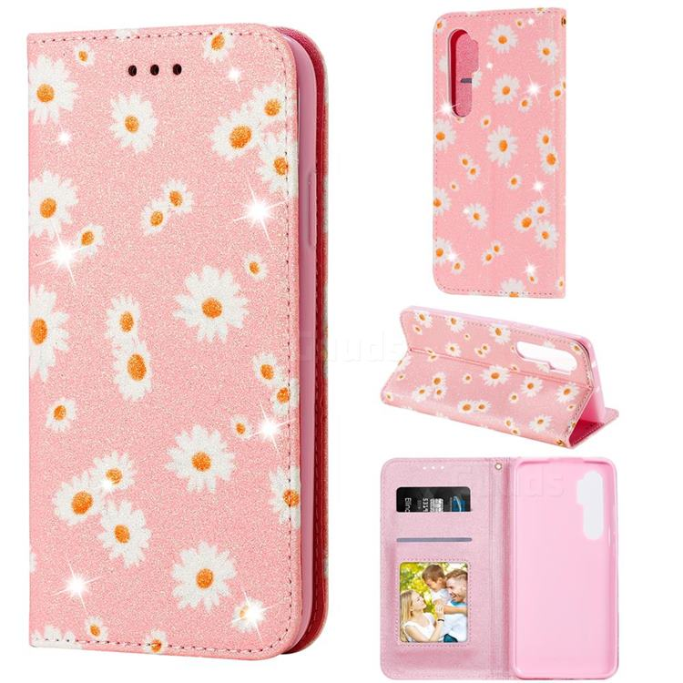 Ultra Slim Daisy Sparkle Glitter Powder Magnetic Leather Wallet Case for Xiaomi Mi Note 10 Lite - Pink