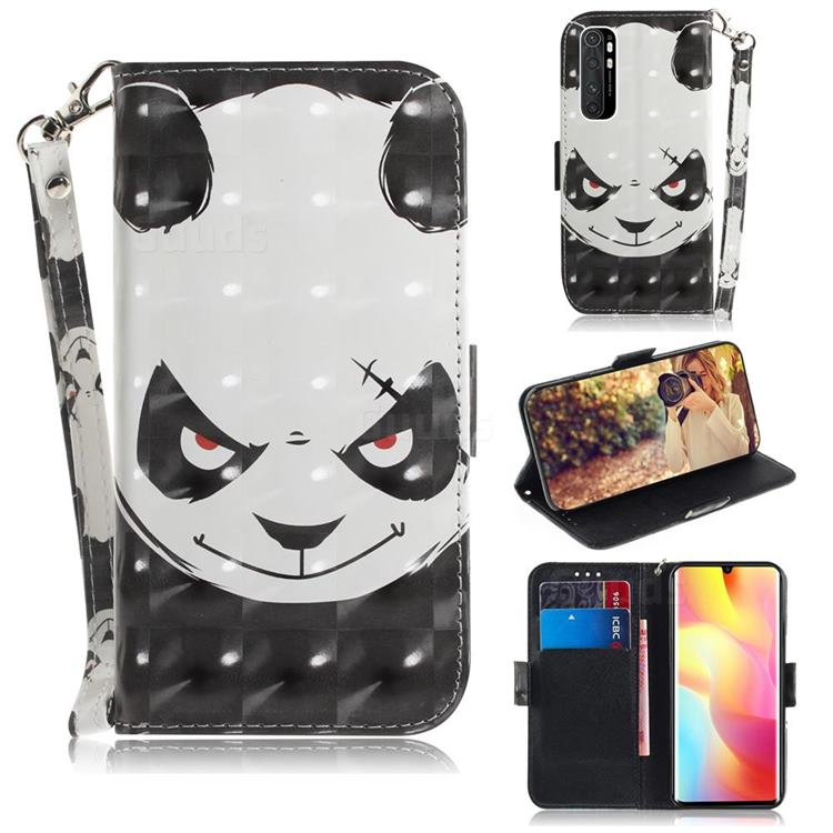 Angry Bear 3D Painted Leather Wallet Phone Case for Xiaomi Mi Note 10 Lite