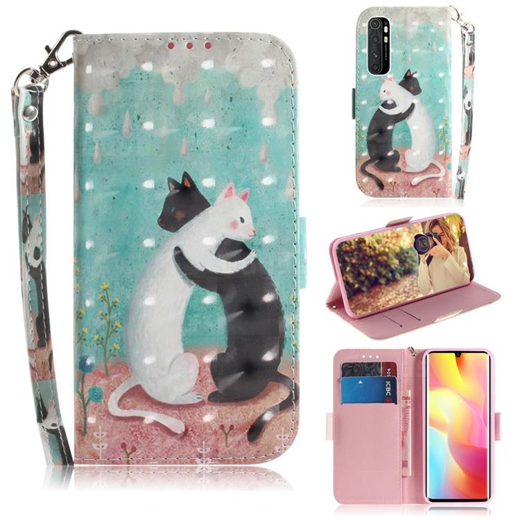 Black and White Cat 3D Painted Leather Wallet Phone Case for Xiaomi Mi Note 10 Lite