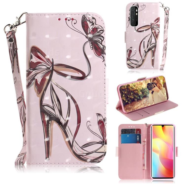 Butterfly High Heels 3D Painted Leather Wallet Phone Case for Xiaomi Mi Note 10 Lite