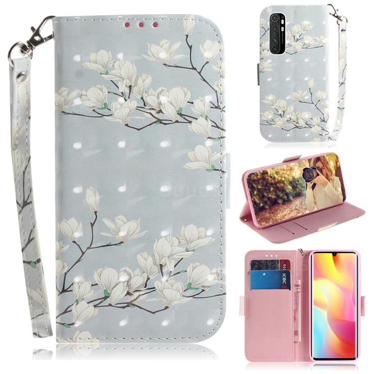 Magnolia Flower 3D Painted Leather Wallet Phone Case for Xiaomi Mi Note 10 Lite