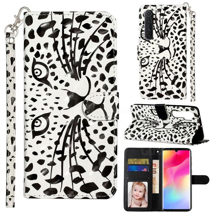 Leopard Panther 3D Leather Phone Holster Wallet Case for Xiaomi Mi Note 10 Lite