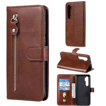 Retro Luxury Zipper Leather Phone Wallet Case for Xiaomi Mi Note 10 Lite - Brown