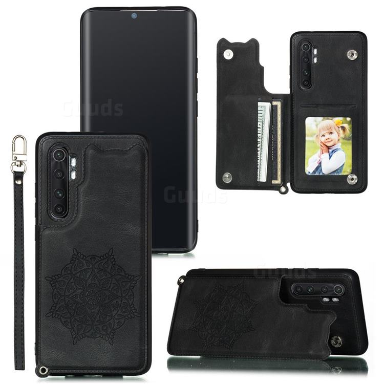 Luxury Mandala Multi-function Magnetic Card Slots Stand Leather Back Cover for Xiaomi Mi Note 10 Lite - Black