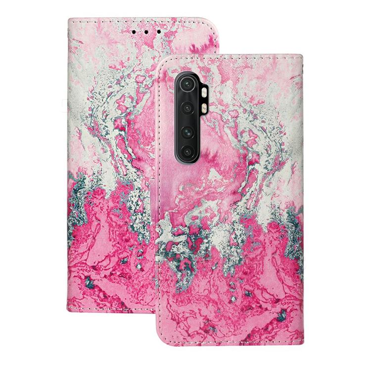 Pink Seawater PU Leather Wallet Case for Xiaomi Mi Note 10 Lite