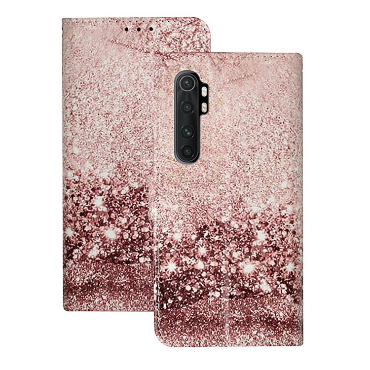 Glittering Rose Gold PU Leather Wallet Case for Xiaomi Mi Note 10 Lite