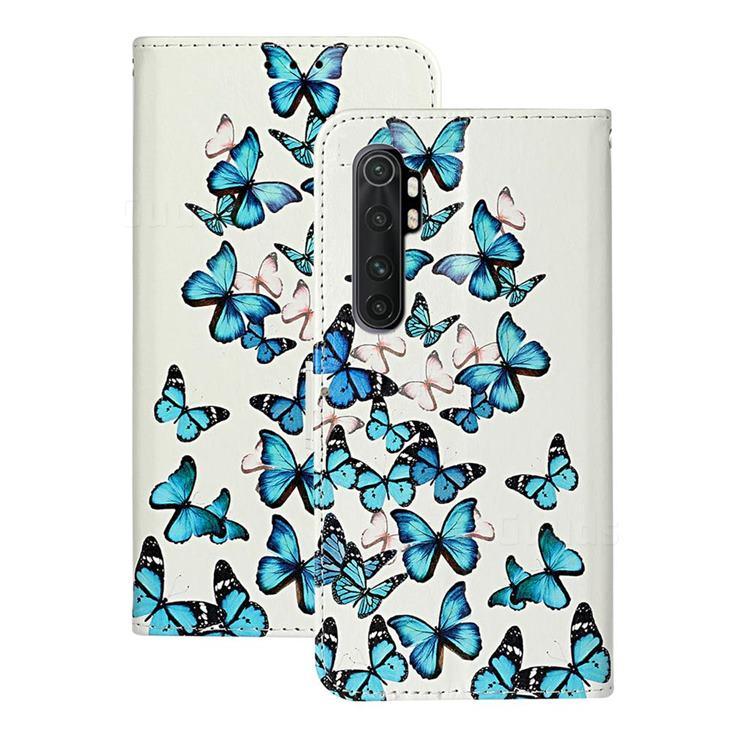 Blue Vivid Butterflies PU Leather Wallet Case for Xiaomi Mi Note 10 Lite