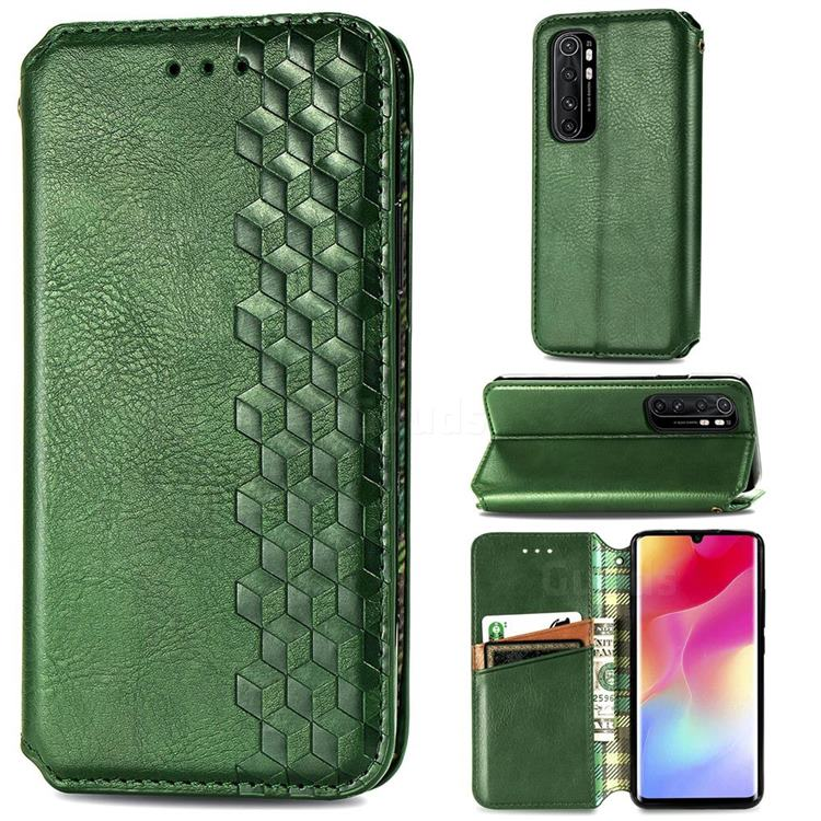 Ultra Slim Fashion Business Card Magnetic Automatic Suction Leather Flip Cover for Xiaomi Mi Note 10 Lite - Green