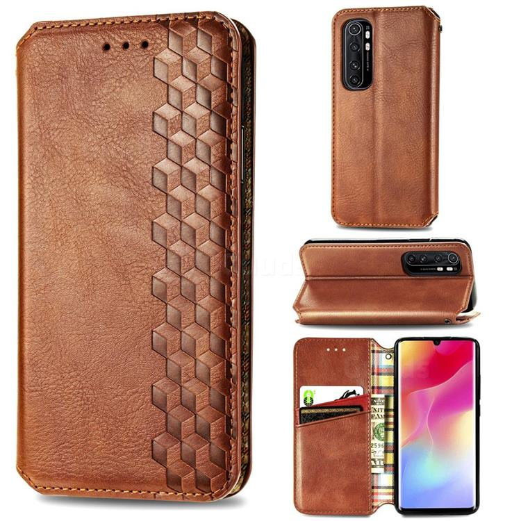 Ultra Slim Fashion Business Card Magnetic Automatic Suction Leather Flip Cover for Xiaomi Mi Note 10 Lite - Brown