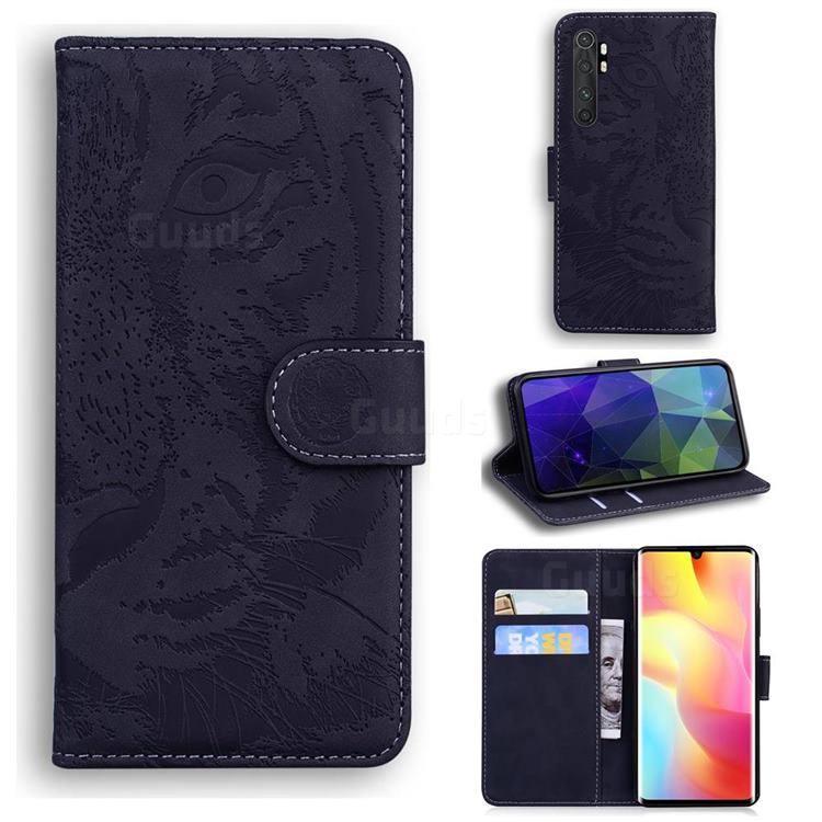 Intricate Embossing Tiger Face Leather Wallet Case for Xiaomi Mi Note 10 Lite - Black