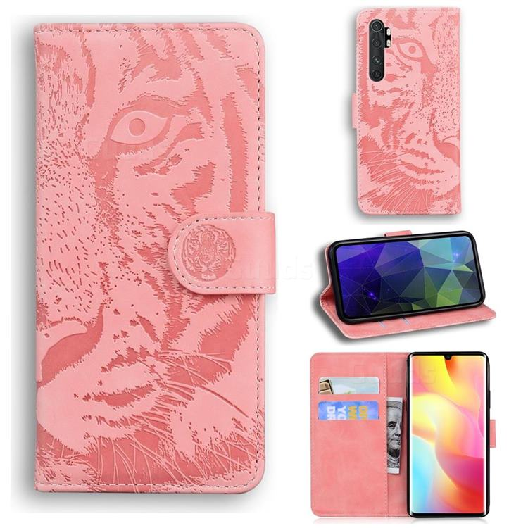 Intricate Embossing Tiger Face Leather Wallet Case for Xiaomi Mi Note 10 Lite - Pink