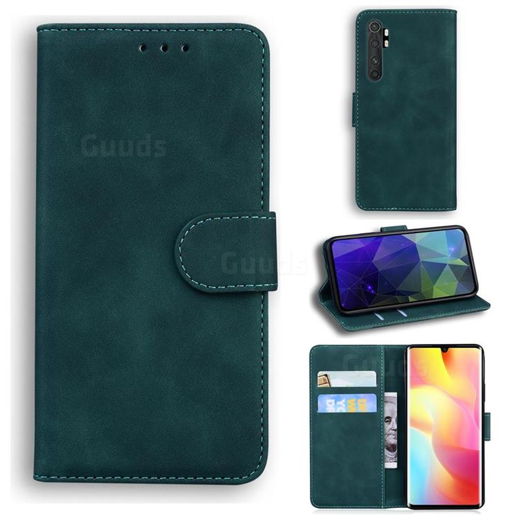 Retro Classic Skin Feel Leather Wallet Phone Case for Xiaomi Mi Note 10 Lite - Green