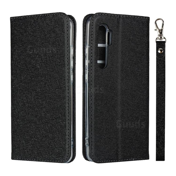Ultra Slim Magnetic Automatic Suction Silk Lanyard Leather Flip Cover for Xiaomi Mi Note 10 Lite - Black