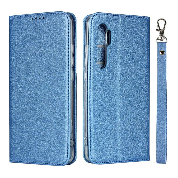 Ultra Slim Magnetic Automatic Suction Silk Lanyard Leather Flip Cover for Xiaomi Mi Note 10 Lite - Sky Blue