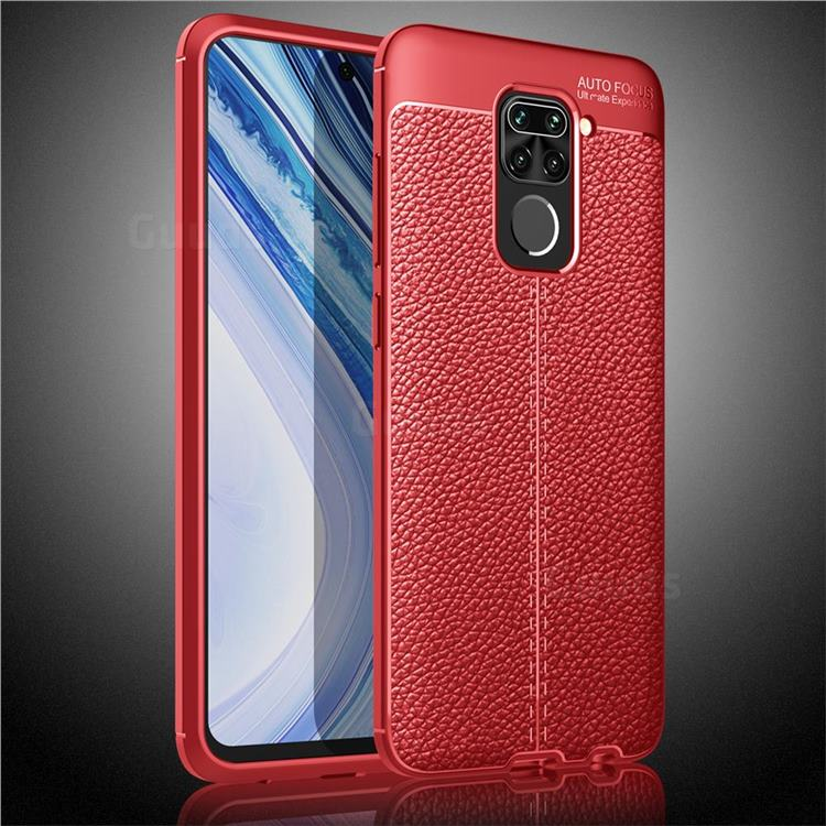 Luxury Auto Focus Litchi Texture Silicone TPU Back Cover for Xiaomi Redmi Note 9 - Red