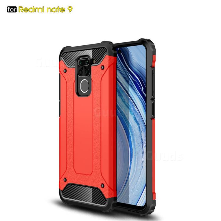 King Kong Armor Premium Shockproof Dual Layer Rugged Hard Cover for Xiaomi Redmi Note 9 - Big Red