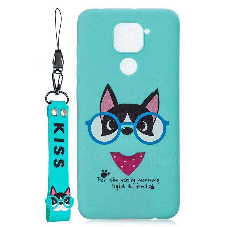 Green Glasses Dog Soft Kiss Candy Hand Strap Silicone Case for Xiaomi Redmi Note 9
