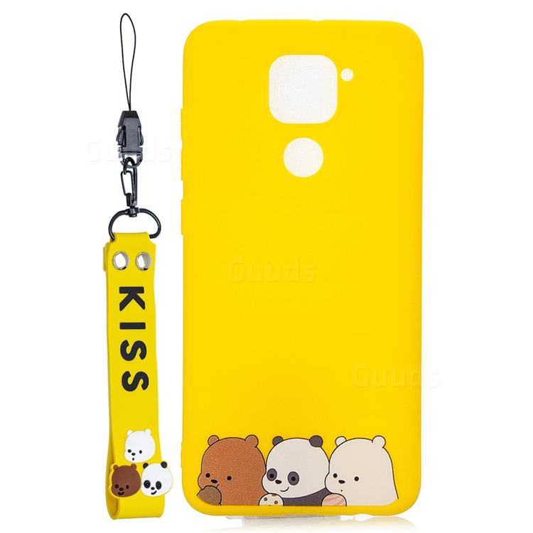 Yellow Bear Family Soft Kiss Candy Hand Strap Silicone Case for Xiaomi Redmi Note 9
