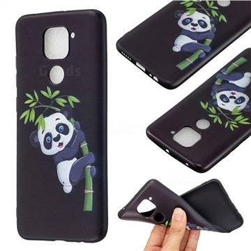 Bamboo Panda 3D Embossed Relief Black Soft Back Cover for Xiaomi Redmi Note 9