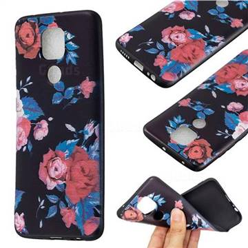 Safflower 3D Embossed Relief Black Soft Back Cover for Xiaomi Redmi Note 9