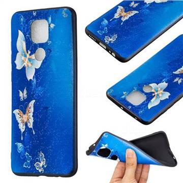 Golden Butterflies 3D Embossed Relief Black Soft Back Cover for Xiaomi Redmi Note 9