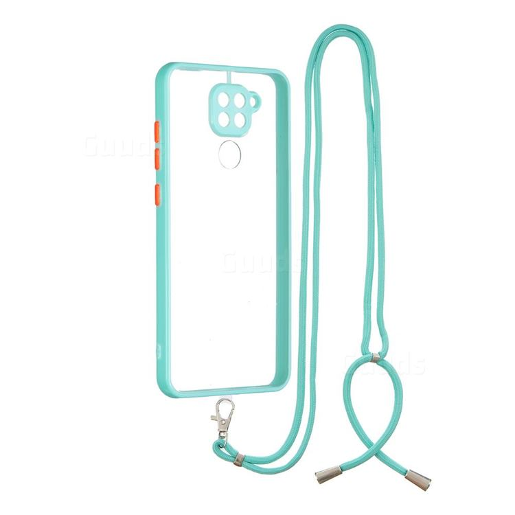 Necklace Cross-body Lanyard Strap Cord Phone Case Cover for Xiaomi Redmi Note 9 - Blue