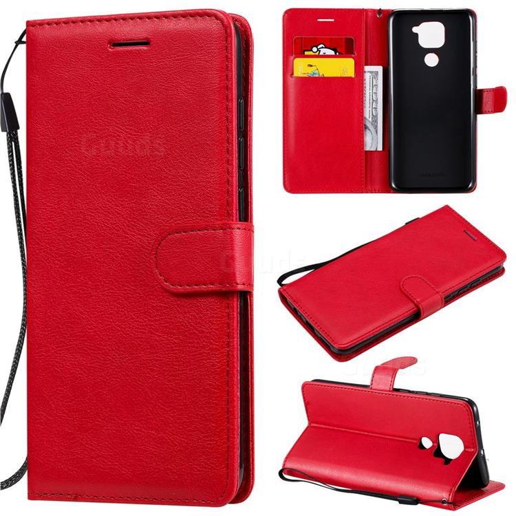 Retro Greek Classic Smooth PU Leather Wallet Phone Case for Xiaomi Redmi Note 9 - Red