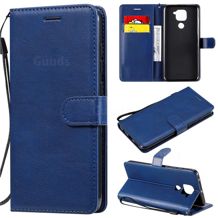 Retro Greek Classic Smooth PU Leather Wallet Phone Case for Xiaomi Redmi Note 9 - Blue