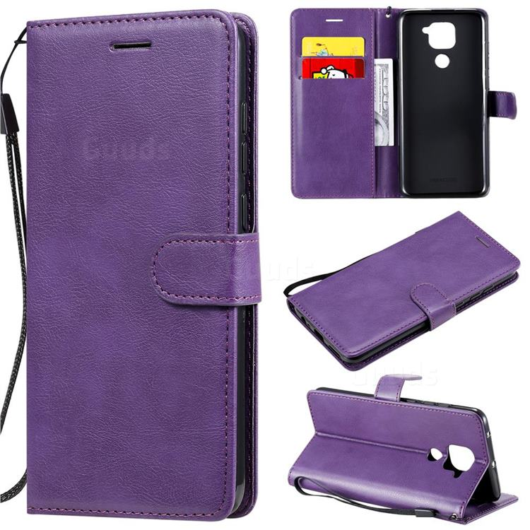 Retro Greek Classic Smooth PU Leather Wallet Phone Case for Xiaomi Redmi Note 9 - Purple