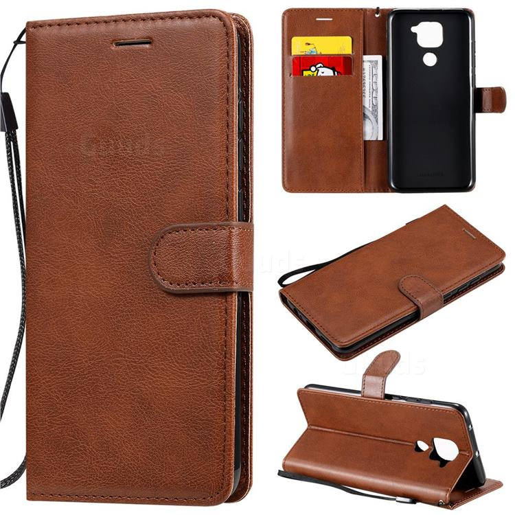 Retro Greek Classic Smooth PU Leather Wallet Phone Case for Xiaomi Redmi Note 9 - Brown
