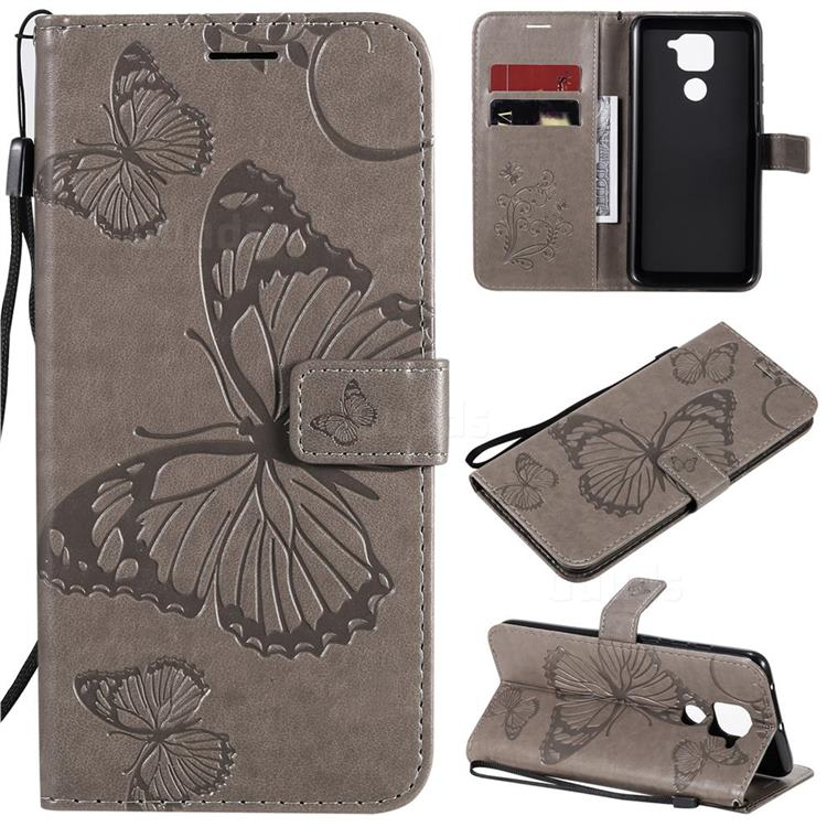 Embossing 3D Butterfly Leather Wallet Case for Xiaomi Redmi Note 9 - Gray