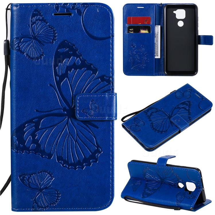 Embossing 3D Butterfly Leather Wallet Case for Xiaomi Redmi Note 9 - Blue