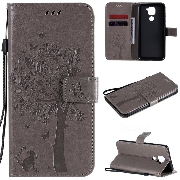Embossing Butterfly Tree Leather Wallet Case for Xiaomi Redmi Note 9 - Grey