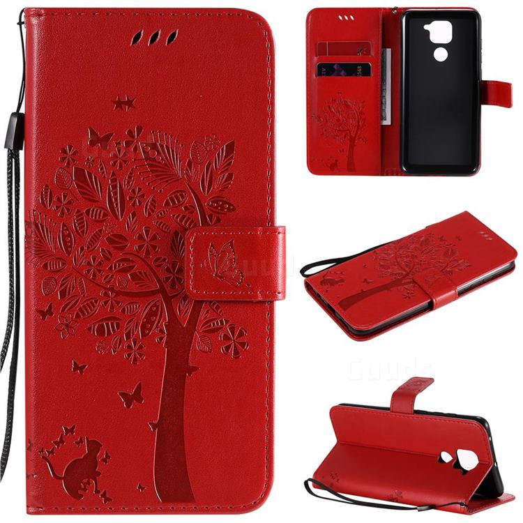 Embossing Butterfly Tree Leather Wallet Case for Xiaomi Redmi Note 9 - Red