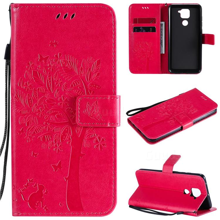 Embossing Butterfly Tree Leather Wallet Case for Xiaomi Redmi Note 9 - Rose
