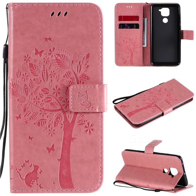 Embossing Butterfly Tree Leather Wallet Case for Xiaomi Redmi Note 9 - Pink