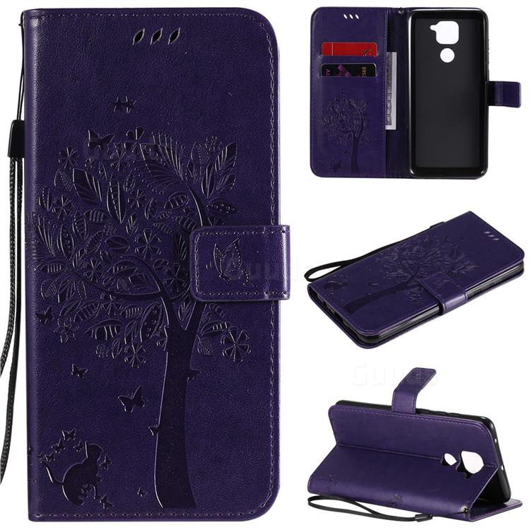 Embossing Butterfly Tree Leather Wallet Case for Xiaomi Redmi Note 9 - Purple