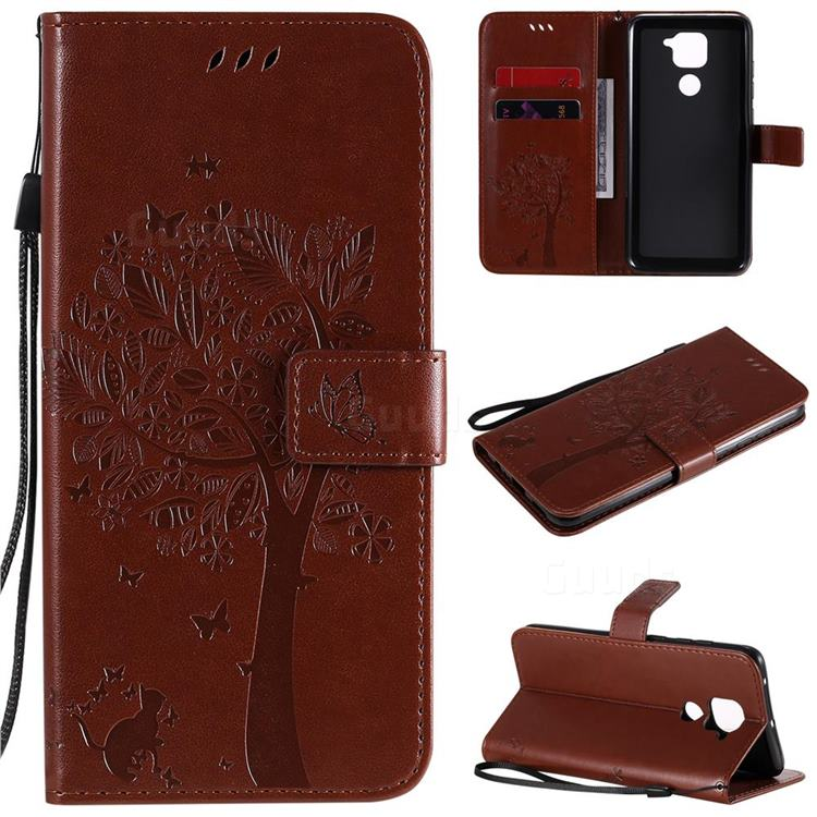 Embossing Butterfly Tree Leather Wallet Case for Xiaomi Redmi Note 9 - Coffee