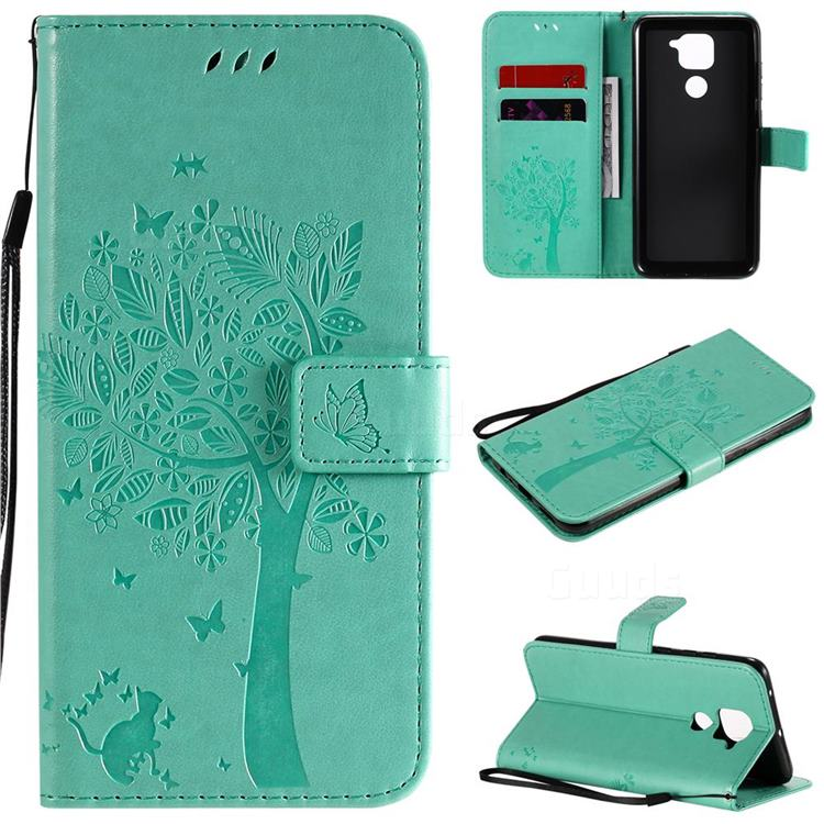 Embossing Butterfly Tree Leather Wallet Case for Xiaomi Redmi Note 9 - Cyan