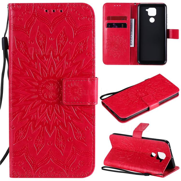 Embossing Sunflower Leather Wallet Case for Xiaomi Redmi Note 9 - Red