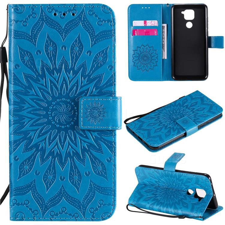 Embossing Sunflower Leather Wallet Case for Xiaomi Redmi Note 9 - Blue