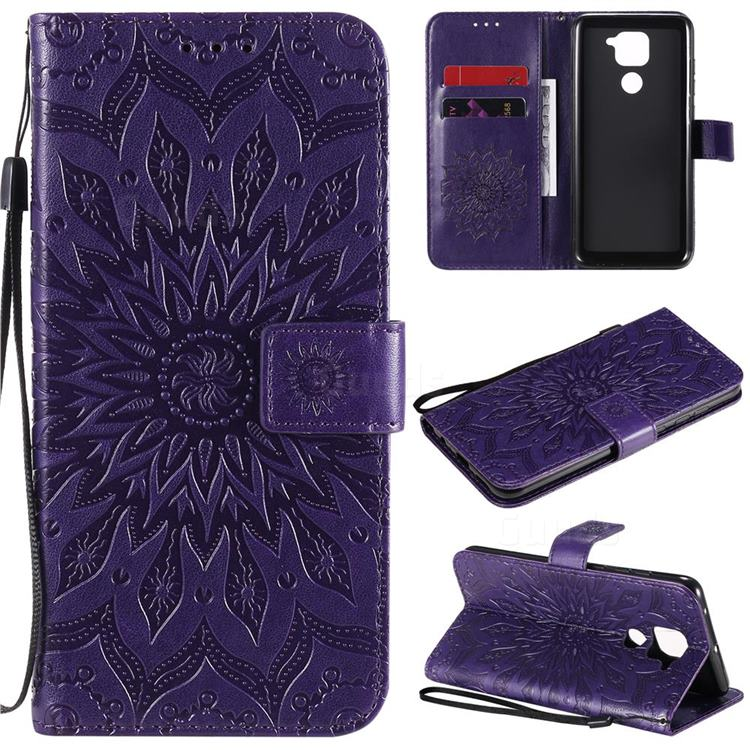 Embossing Sunflower Leather Wallet Case for Xiaomi Redmi Note 9 - Purple