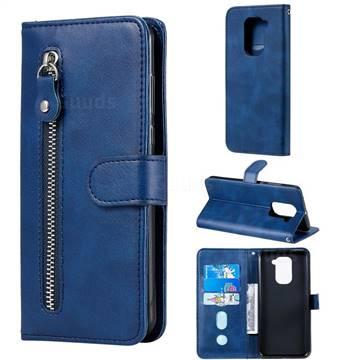 Retro Luxury Zipper Leather Phone Wallet Case for Xiaomi Redmi Note 9 - Blue