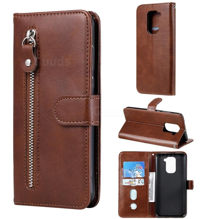 Retro Luxury Zipper Leather Phone Wallet Case for Xiaomi Redmi Note 9 - Brown
