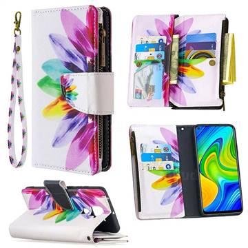 Seven-color Flowers Binfen Color BF03 Retro Zipper Leather Wallet Phone Case for Xiaomi Redmi Note 9