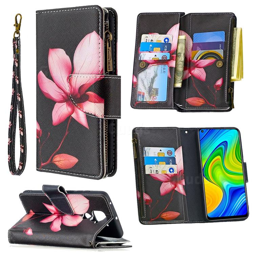 Lotus Flower Binfen Color BF03 Retro Zipper Leather Wallet Phone Case for Xiaomi Redmi Note 9