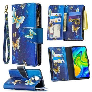 Golden Butterflies Binfen Color BF03 Retro Zipper Leather Wallet Phone Case for Xiaomi Redmi Note 9