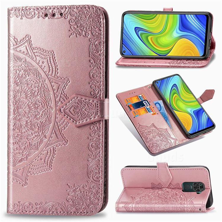 Embossing Imprint Mandala Flower Leather Wallet Case for Xiaomi Redmi Note 9 - Rose Gold
