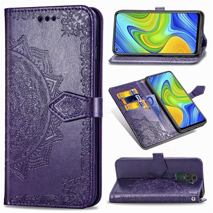 Embossing Imprint Mandala Flower Leather Wallet Case for Xiaomi Redmi Note 9 - Purple