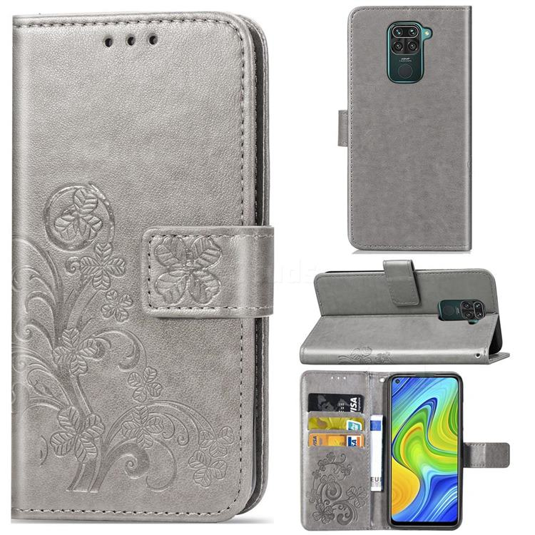 Embossing Imprint Four-Leaf Clover Leather Wallet Case for Xiaomi Redmi Note 9 - Grey